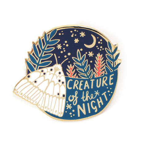 Creature of the Night White Moth and Starry Sky Enamel Pin Badge