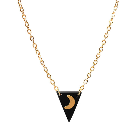 Tiny Brass Moon and Matte Black Perspex Triangle Necklac