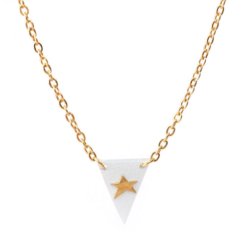 Tiny Brass Star and Grey Perspex Triangle Necklace