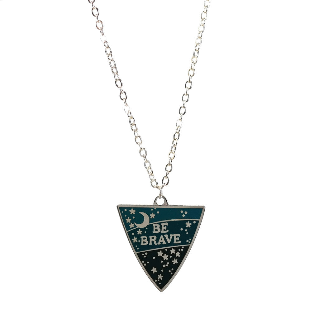 Be Brave Enamel and Silver Plated Necklace