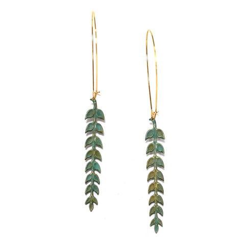 Athena Long Leaf Drop Green Verdigris Earrings
