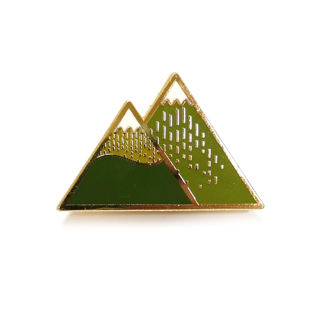 Enamel and Brass Autumn Mountain Twin Peaks Brooch