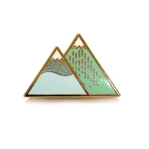 Enamel and Brass Winter Mountain Twin Peaks Brooch