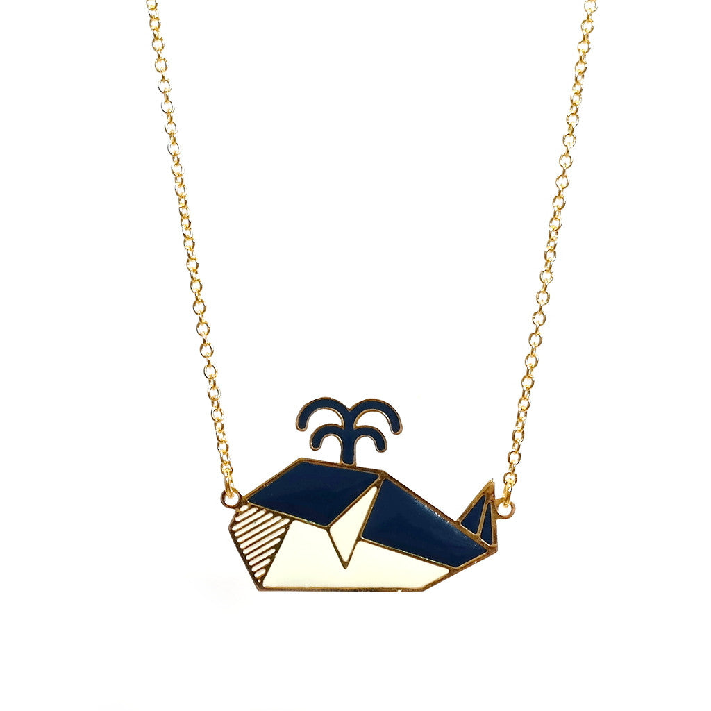 Blue and white whale origami enamel necklace on gold chain