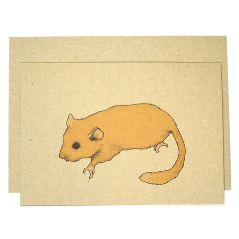 cute simple orange dormouse card on brown kraft paper