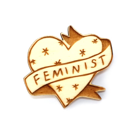 Feminist wooden vintage tattoo inspired heart brooch pin