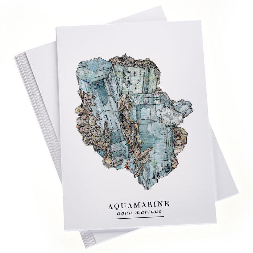 Aquamarine Postcard and Sticker Set