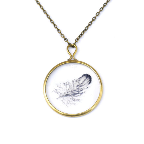 Illustrated Feather Antique Lens Pendant