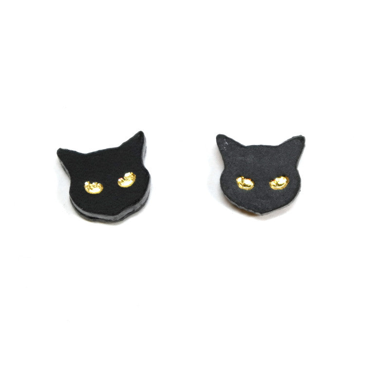 Little Black Cat Stud Earrings