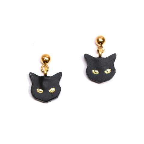 Little Black Cat Drop Earrings