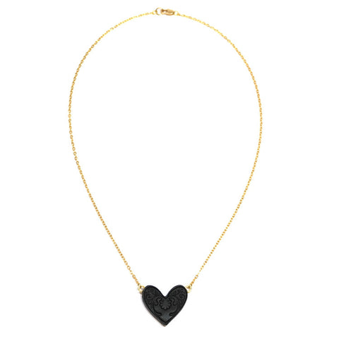 Sweet Black Heart Pendant Necklace