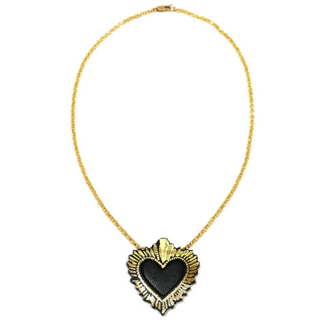 Black Sacred Heart Pendant Necklace