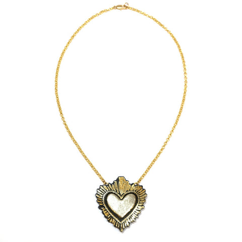Bronze Sacred Heart Pendant Necklace