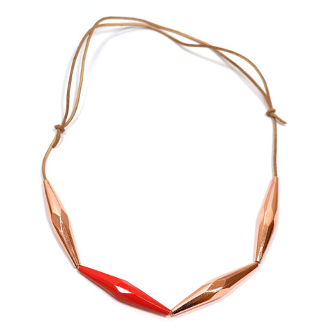 Red and Copper Faceted Bead Necklace with Adjustable Cor