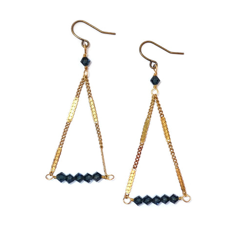 Pyramid Pendulum Earrings in Indigo Blue