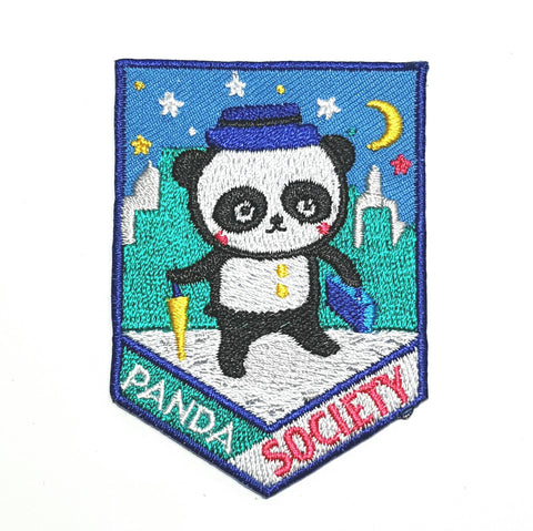Panda Society Pennant style Embroidered Patch by Bel's Art World