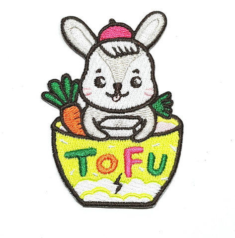 bunny in tofu bowl woven patch