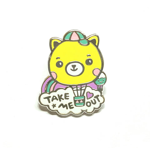'Take Me Out' Bear Shaped Hot Air Balloon Enamel Pin