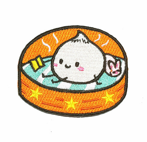 Embroidered Patch with a cute steam bun reading by Bel's Art World