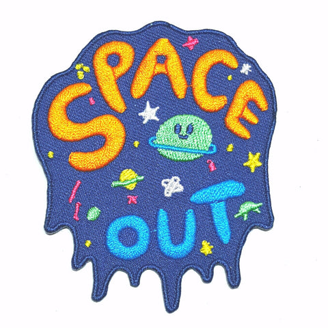 Embroidered Patch with Space Out logo with planets and stars by Bel's Art World