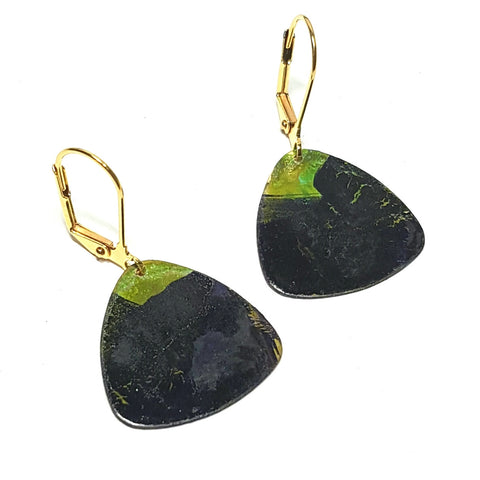 brass, navy, and green verdigris tab Isla earrings with brass ear hooks