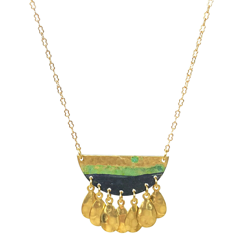 issoria golden necklace with blue patina pendant with brass droplets