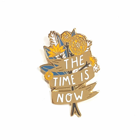 the time is now floral pin by bonbi forest
