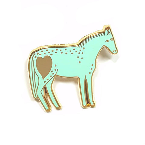 Pony Pin in Mint and Gold