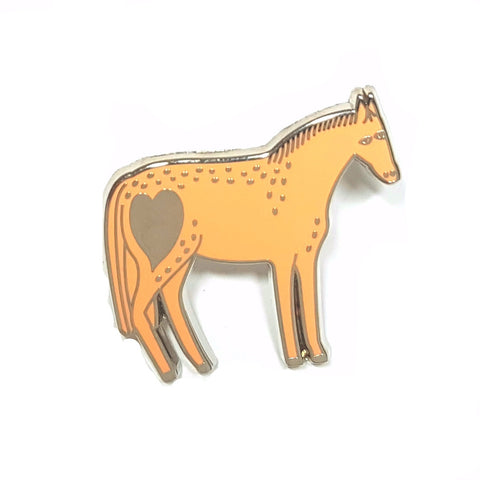 peach and silver enamel pony pin with heart by bonbi forest