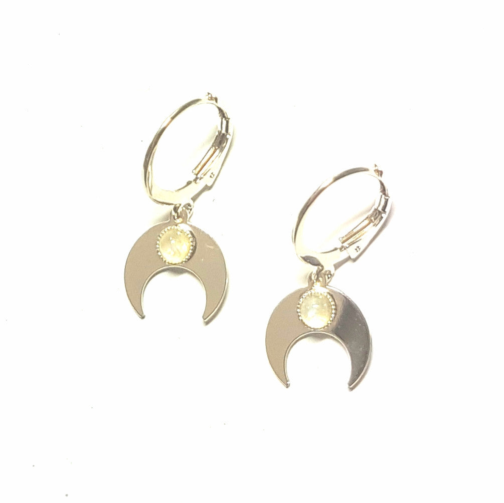 Silver Crescent Moon Earrings with Moonstone