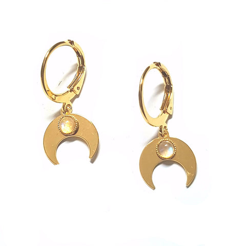 Moon Earrings in Gold