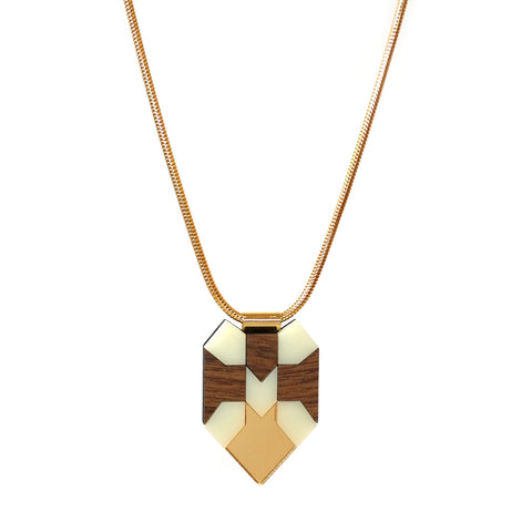 Tile Necklace in Walnut