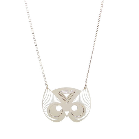 Owl Totem Necklace in Silver