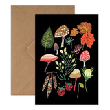 Autumn Greeting Card - Mushrooms, Toadstools, Leaves And Berries