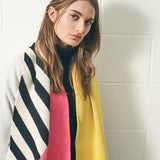 Miss Pom Pom Colourful Geometric Scarf - Pink, Yellow And Black And White Stripe - Worn by model