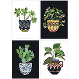 House Plant Postcard Series - Four Illustrated Postcards
