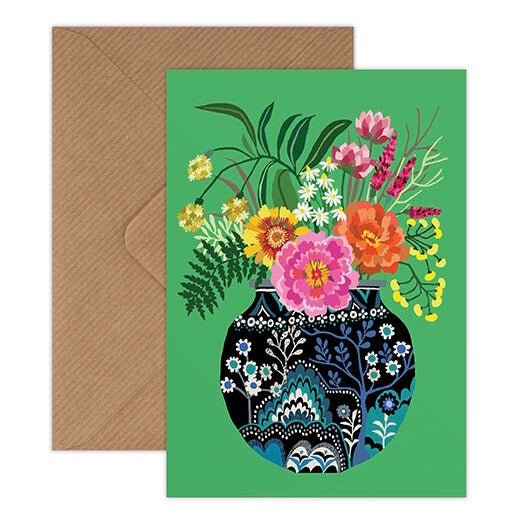 Fleurs - Vase of Flowers on green background illustrated greeting card