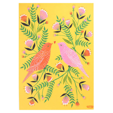 Lovebirds Art Poster - Orange and Pink Birds on Yellow Background