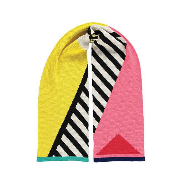 Miss Pom Pom Colourful Geometric Scarf - Pink, Yellow And Black And White Stripe