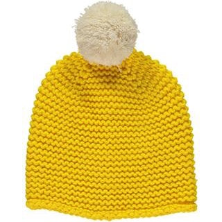 Yellow Pom Beanie - Knitted Bobble Hat with Cream Pom Pom