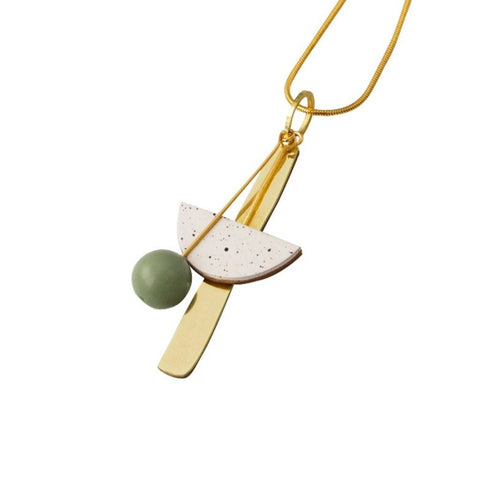 Wolf and Moon Abstract I Geometric Brass and Wood Necklace