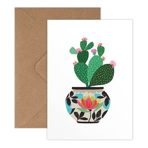 Brie Harrison - Cactus Greeting Card, Prickly Plant in Patterned Vase