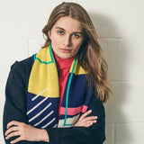 Shapes Colourful Geometric Scarf Worn by model