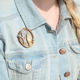 Woodland Owl Double Layered Wooden Brooch Modelled on Denim Jacket