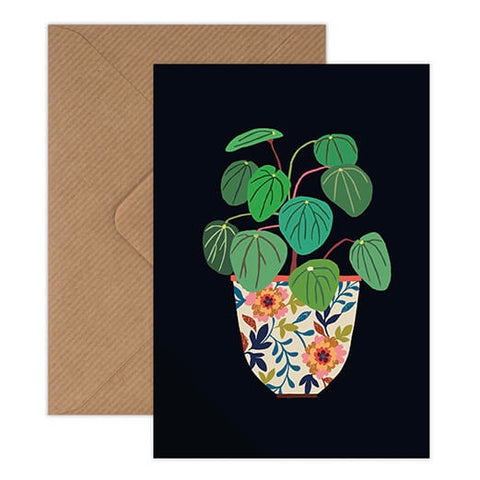 Pilea Houseplant Card - Colourful Plant Illustration on Black Background
