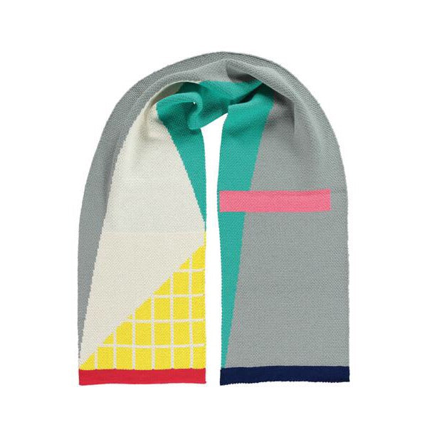 Modernist Acrylic Scarf - Graphic Knit Design in grey, yellow, green and pink
