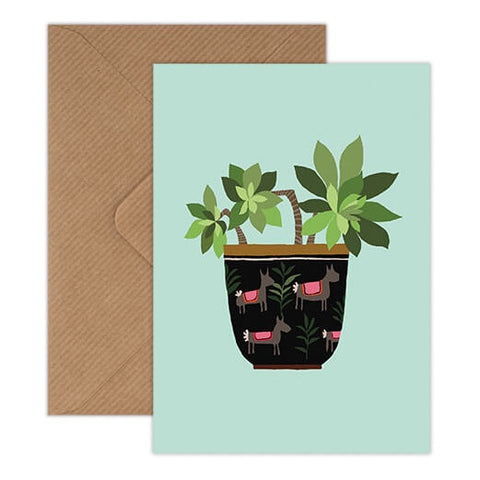 Succulent Card - Green Plant in Alpaca Patterned Pot Illustration