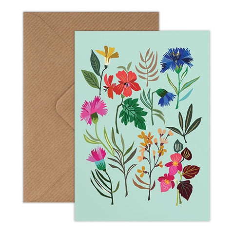 Summer Study Card - Colourful Flower Illustrations on a Turquoise Background
