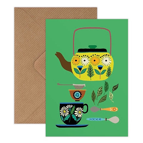Retro Teapot Card