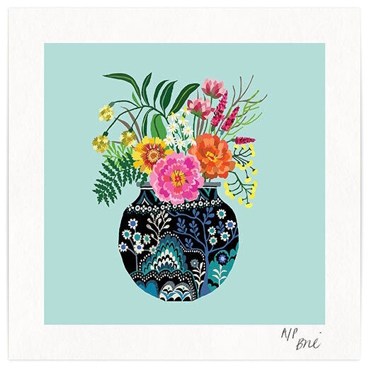 Fleurs Giclee Print - Vase of Flowers Illustration on Blue Background